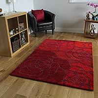 Tappeto Grandi Dimensioni Rosso Motivo Petalo Rosa Robusto Tessuto a