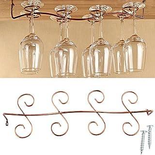 AIYoo Wine Glass Rack,Stemware Under Cabinet Holder Hanger Shelf Bar Kitchen Display,Holds up to 8 Glasses,Wine Glass Hanging Rack,Retro Bar Goblet Glass Cup Hanging Holder Shelf,Brass Color