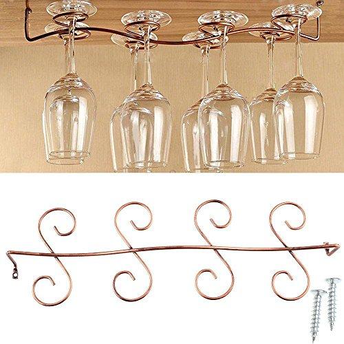 AIYoo Weinglas-Regal, Stielgeschirr unter dem Schrank, Hängeregal, für bis zu 8 Gläser,...