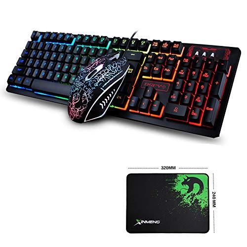 FELiCON Ratón de teclado para videojuegos con cable y retroiluminado con LED 104 teclas ergonómicas para teclado USB con cable de 2400 ppp 4 botones ópticos USB para juegos con alfombrilla de ratón