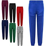BOYS GIRLS SCHOOL PE JOGGING BOTTOMS SWEAT PANTS SPORTS TRACKSUIT TROUSERS 3-16 Years