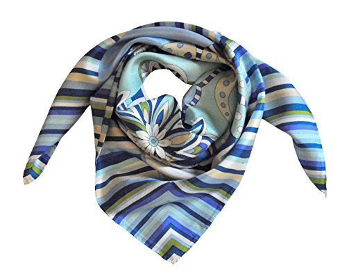 Renaissance di Chiara Ghianda - Naif - Foulard 100% pur satin de soie Base Azzurro con blu e crema