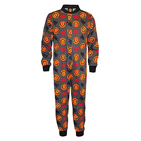 Manchester United FC Official Gift Boys Kids Pyjama All-In-One Grey