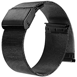 UEETEK 20mm Stainless Steel Bracelet Strap Replacement Wrist Band with Folding Clasp (Black)