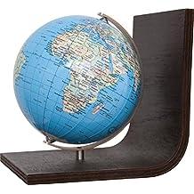 COLUMBUS DUO: Bücherstütze, politisch, unbeleuchtet, 12 cm Durchmesser, handkaschiert, Holzfuß braun, Meridian edelstahl, ting-kompatibel, TING: Informationen über Bevölkerungszahlen und Haupstädte