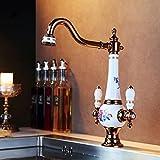 Ohcde Dheark Messing Torneira Cozinha Mit Porzellan Küche Wasserhahn/Einzigen Griff Chrom Waschbecken Wasserhahn Mixer T