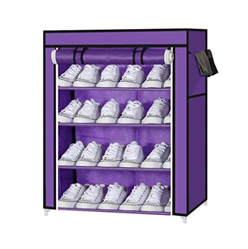 Ducomi® Schuh Tuch Kleiderschrank Schrank in Stahl und Stoff (S - 4 Regale, Purple) - 4 Regal Stahl Schrank