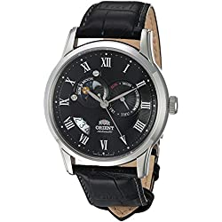 Orient Men's 42.5mm Black Leather Band Steel Case Sapphire Crystal Automatic Analog Watch FET0T002B0