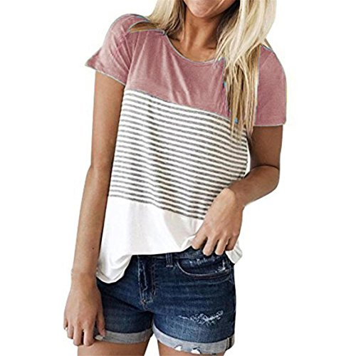 Moonuy,Damen Sommerbluse, 2018 Damen Kurzarmbluse, Dreifarbiges Blockstreifen T-Shirt Lässige Baumwollmode O-Ausschnitt Sweatshirt Farbklecksshirt (Rosa, EU 42/Asien 2XL)