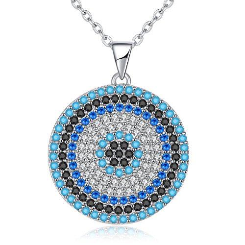 Collar colgante ojo turco redondo azul plata ley 925