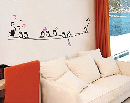 ufengke® Beaux Oiseaux Notes de Musique Stickers Muraux, Salle de Séjour Chambre à Coucher Autocollants Amovibles