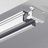 Garduna 450cm eckige Schleuderschiene Gardinenschiene Vorhangschiene, Aluminium, Weiss, Glatte, glänzende Oberfläche, 1-läufig - vorgebohrt!