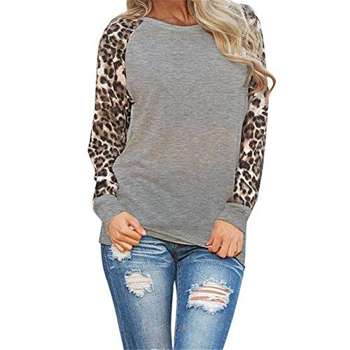 Frauen Basic Langarmshirt - hibote Damen Vintage Rundhals Pullover Beiläufige Langarm Outwear Elegant Leopard Jumper Blouse Tops T-Shirts Oberteile