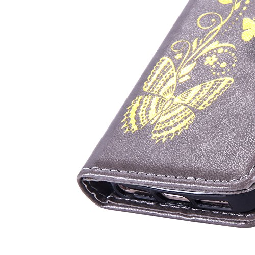 JIALUN-Telefon Fall Mit Kartensteckplatz, Lanyard, Druck Schönes Muster Mode Open Handy Shell Für IPhone 5S 5 SE ( Color : Purple , Size : IPhone 5S SE ) Gray