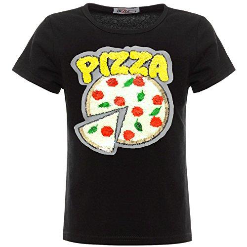 BEZLIT Mädchen Kinder Wende-Pailletten Pizza T-Shirt Outfit 22536 Schwarz Größe 128