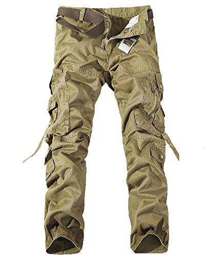 Homme Cargo Pantalons Travail-Multi Poches Vintage Style Combat Militaire Pants Kaki