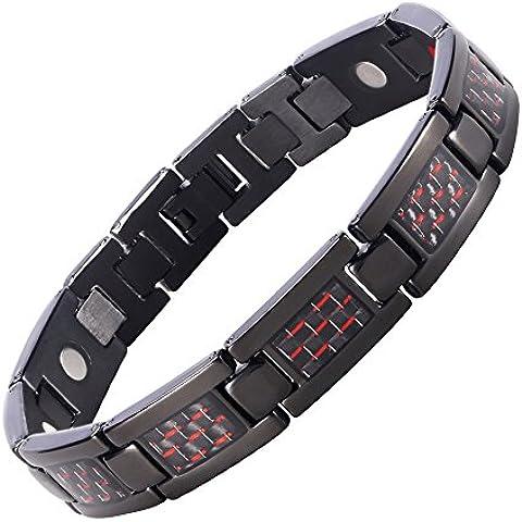 Starista magnetico in titanio da uomo, 4-Braccialetto rosso con inserto in fibra di carbonio, in elegante confezione