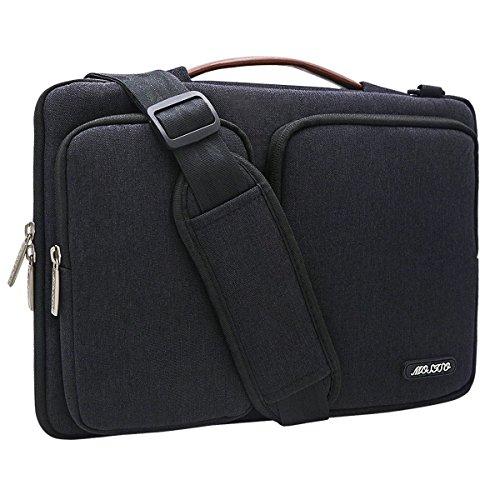 MOSISO 360° stoßfeste Notebooktasche für 13-13,3 Zoll MacBook Pro, MacBook Air, Notebook Computer mit Organizer Taschen, Wasserresistente Laptop Schultertasche Sleeve Hülle Umhängetasche mit Griff und Schulterriemen aus strapazierfähigem als Messenger Bag, Schwarz (Laptop Organizer Briefcase)