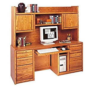 Medium Oak Computer Credenza with Hutch