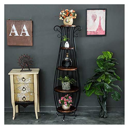 CRUOQ Hölzerner Blumenständer aus Schmiedeeisen, mehrschichtiger dekorativer Innenständer für Innenausstattung, Wohnzimmerregal, runder Treppenhausblumenständer
