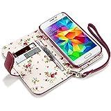 Terrapin Handy Leder Brieftasche Case Hülle mit Kartenfächer für Samsung Galaxy S5 Mini Rot mit Blumen Interior