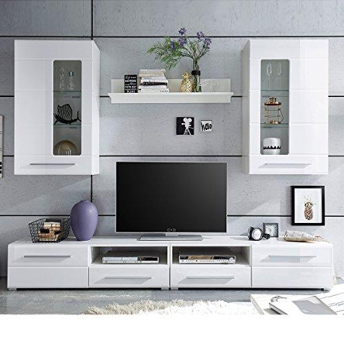Möbel Akut Wohnwand Enrique 2 Wohnzimmer Anbauwand Front weiß hochglanz 2 Hängevitrinen
