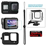 Adofys Accessories Kit for GoPro Hero 8 Black with Waterproof Case + Ultra Clear Tempered Glass Screen Protector + Lens Protector + HD Front Display Lens Protector + Silicone Rubber Protective Case