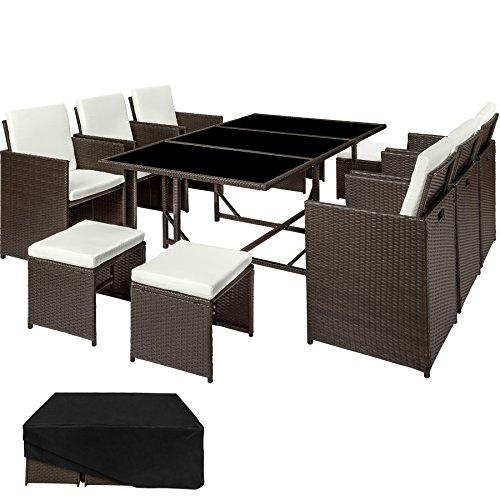 TecTake Ensemble Salon de jardin en Résine Tressée Poly Rotin Table Set | 1 Table 6...