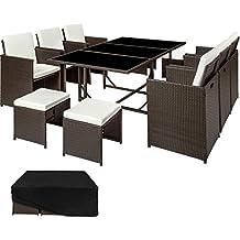 TecTake Conjunto muebles de jardín en ratán sintético | 1 Mesa + 6 Sillones + 4 Taburetes | Cubierta antilluvia | Tornillos de acero inoxidable | disponible en diferentes colores (Marrón antigüedad | no. 402830)