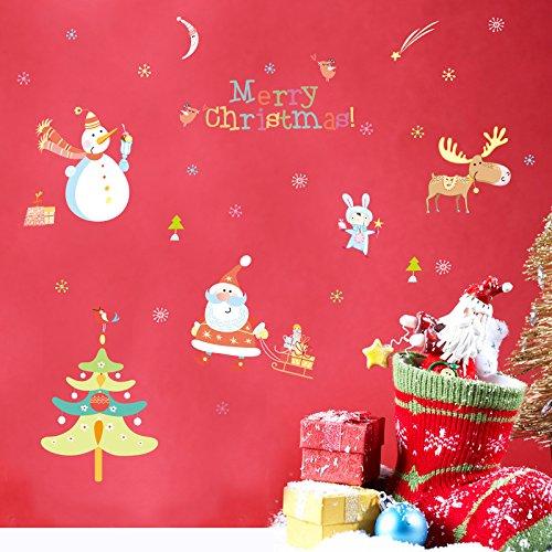 Eigenen Santas Weihnachtsbaum (ALLDOLWEGE Creative Schlafzimmer Wohnzimmer Wandaufkleber Santa Elk Weihnachtsbaum Kombination)