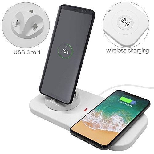 VOIMAKAS Wireless Charger & 3-in-1 USB Ladestation Dockingstationen für iPhone X/8/8 Plus, Samsung S9/S9 Plus/S8/S8 Plus, Huawei P20 und andere Micro USB oder Typ-C Port Mobiltelefone, Weiß