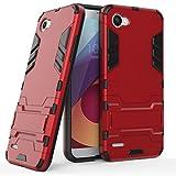 Funda para LG Q6 (5,5 Pulgadas) 2 en 1 Híbrida Rugged Armor Case Choque Absorción Protección Dual Layer Bumper Carcasa con pata de Cabra (Rojo)