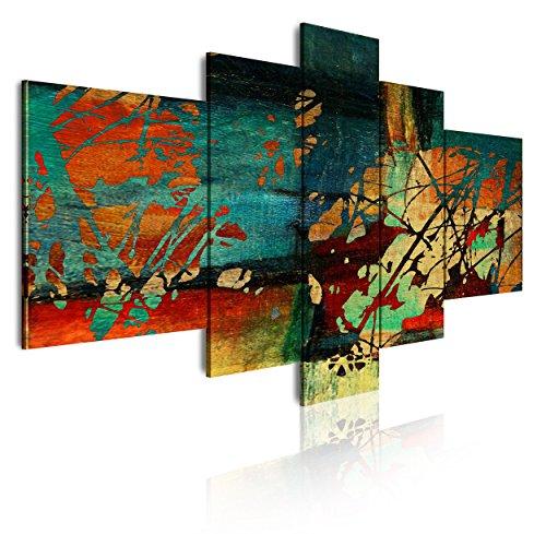 Dekoarte 53 - Cuadro moderno en lienzo de 5 piezas, estilo abstracto en tonos azules, rojos, y amarillo, 180x85cm
