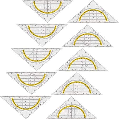 Smartfox 10x Geodreieck Geometrie Dreieck Zeichendreieck Lineal transparent glasklar für Schule und Büro 14 cm