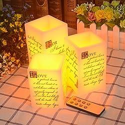 Velas LED Decorativas con Temporizador, Conjunto de 3 unidades con mando a distancia