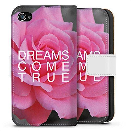Apple iPhone X Silikon Hülle Case Schutzhülle Träume Blume Sprüche Sideflip Tasche weiß