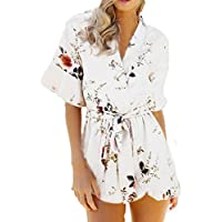 Dragon868 Damen Jumpsuit Kurz Mode Easy V-Ausschnitt Floral Printed Summer Overall