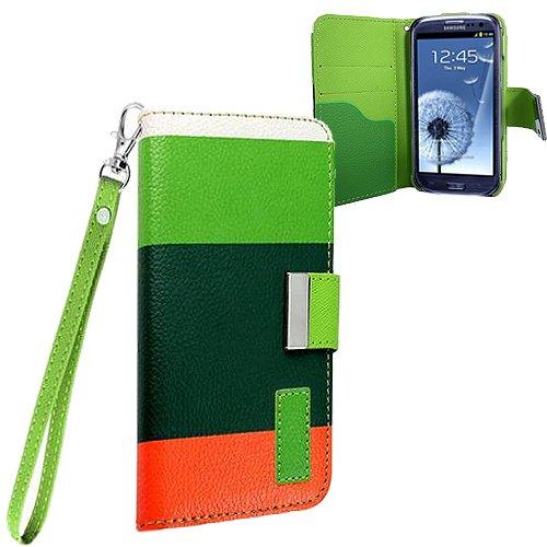 Xtra-Funky Exklusiv Regenbogen gestreiftes Block PU-Leder Geldbeutel Fall mit Kreditkarten- & Geldschlitzen für Samsung Galaxy S3 (i9300) - Entwürfe SD4