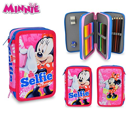 MI16109 Estuche escolar de Minnie Mouse con 3 cremalleras y 43 piezas