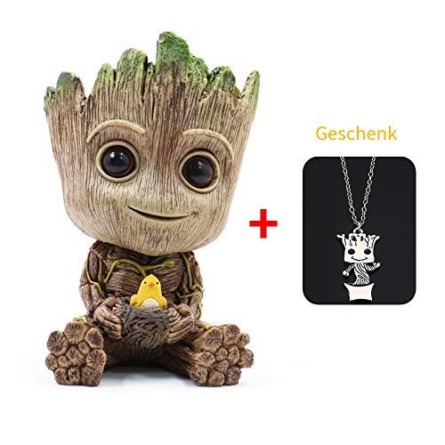 WILLBAN Baby Groot Blumentopf Action-Figuren-Spielzeug Stifttopf PVC Held Model Guardians der Galaxie Crafts Figur Wohnkultur ((Groß) Vogelnest)