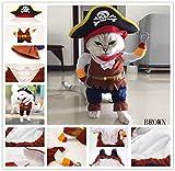Covermason Halloween Hund Katze Haustier Pirat Cosplay Kostüm Kleidung (M, Braun)