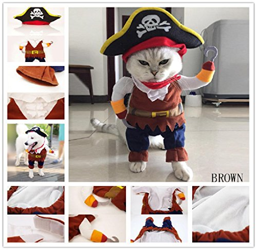 Covermason Halloween Hund Katze Haustier Pirat Cosplay Kostüm Kleidung (S, Braun)