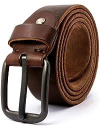 3ZHIYI Vintage Cinturón de piel de 100% búfalo cuero de pantalones vaqueros  para hombre 360edaa627de