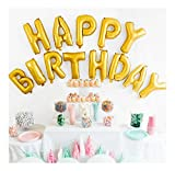 #6: Smartcraft Happy Birthday Alphabet Letter Foil Balloons- Gold, Birthday Party Supplies , Happy Birthday Balloons for Party Decorations