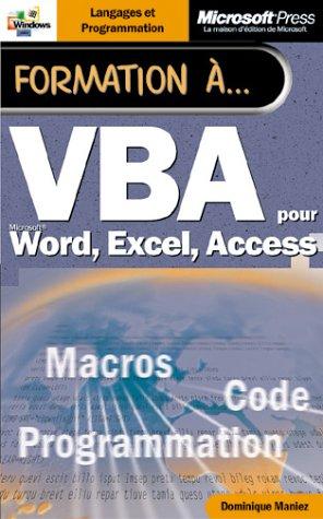 Formation a vba - manuel d`auto-apprentissage - francais