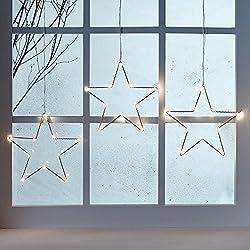 LED Osby Sternen Vorhang 90cm Micro LEDs Timer Batterie Lights4fun