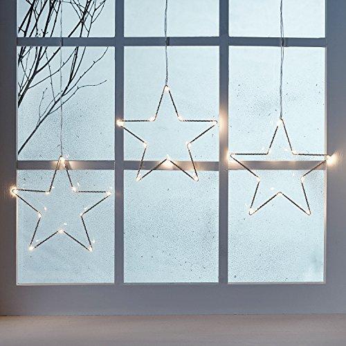 fenster beleuchtung LED Osby Sternen Vorhang 90cm Micro LEDs Timer Batterie Lights4fun