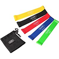 Gloxby Resistance Bands - Premium Quality Set of 5 Exercise Loop Bands - E-book Exercise Guide - Home Fitness Workout, Rehabilitation, Yoga, Pilates, Improve Mobility and Strength, Suitable for Men and Women, Tone and Strengthen, Made from Natural Latex Material