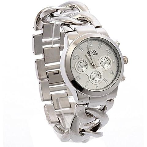 G & D Orologio da donna catena intrecciata in metallo braccialetto argento
