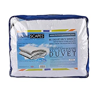 Homescapes Ultrasoft Super Microfibre All Seasons Duvet 9 Tog & 4.5 Tog 3 in 1 Duvet Hotel Quality Hypoallergenic Anti Dust Mite Duvet Washable At Home, Double Size